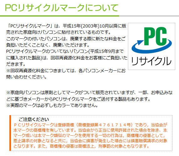 PCリサイクルマーク引用
